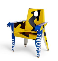 'Broadway Armchair' by Providence-based American artist Boris Bally. Upcycled traffic sign furniture, 39.5 x 35 x 26 in. via design boom