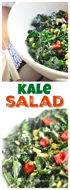 This Kale Salad has delicious flavors of garlic, shallots, pinenuts, sweet red…