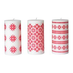 IKEA YRSNÖ Block candle, red, assorted patterns $3.99