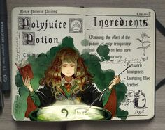 Harry Potter Gabriel Picolo A series of illustrations based on the Harry Potter books created by Gabriel Picolo a freelance illustrator based in Brazil. A new take on the fantastic beasts, potions and spells from the magical Harry Potter book series. Harry Potter Fan Art, Harry Potter Journal, Potion Harry Potter, Harry Potter Notebook, Mundo Harry Potter, Harry Potter Books, Harry Potter Universal, Harry Potter World, Doodle Inspiration