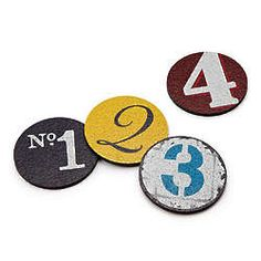 Numbers Recycled Tire Coasters