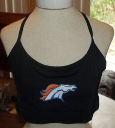 Broncos Logo Sports Bra Cropped Top Black XL XXL by TwiggyPudding
