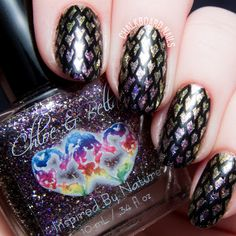 Dragon Scale Nail Art with Chloe & Bella   Chalkboard Nails   Nail Art Blog