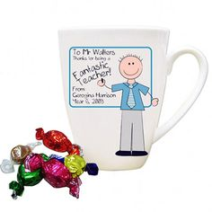 Featuring a male teacher standing next to a whiteboard, this item can be altered to your specifications easily. Mr Teacher, Teacher Name, Teacher Appreciation Week, Make School, Personalized Teacher Gifts, Board For Kids, Latte Mugs, Gifts Under 10, Coach Gifts