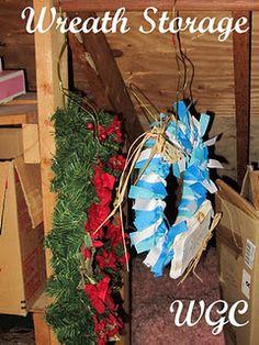 Store Wreaths Using Bent Wire Hangers Christmas Storage Christmas Items Wreath Storage Girl