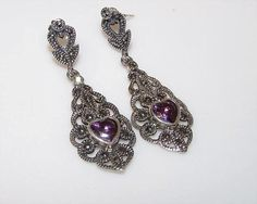 Vintage Sterling Silver 925 Amethyst Marcasites Filigree Pierced Earrings
