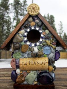 Birdhouse Mosaic Wine lovers and humming by WinestoneBirdhouses, $45.00