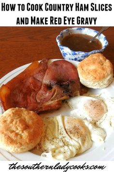 How to Cook Country Ham Slices and Make Red Eye Gravy Cooks Country Recipes, Country Cooking, Southern Recipes, Southern Food, Southern Living, Ham Slices Recipes, Ham Recipes, Cooking Recipes, Cooking Tips