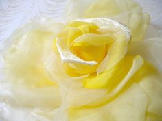 SALE Extra Large Silk and Velvet Rose Sunbeam Yellow Millinery Flower for Hats Gowns Weddings Home Dec Fascinators