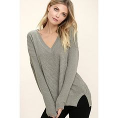 This Town Grey Sweater ($56) ❤ liked on Polyvore featuring tops, sweaters, grey, gray v neck sweater, long sleeve sweater, loose sweater, knit sweater and long sleeve knit sweater