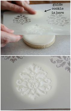 How to stencil on cookies - Sweet Sugarbelle - http://www.sweetsugarbelle.com/2012/10/pretty-stenciled-damask-cookies/