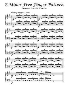 B Minor – Five Finger Pattern – Extreme Practice Routine Free Sheet Music, Piano Sheet Music, Music Sheets, Beginner Piano Music, Piano Lessons For Beginners, Organ Music, Music Chords, Piano Songs, Piano Teaching