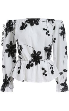 White Black Off the Shoulder Floral Blouse