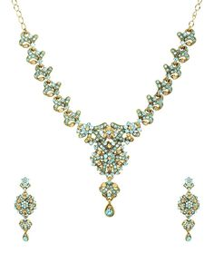 Aqua Blue Gold Austrian Crystal Necklace set Bridal Jewelry