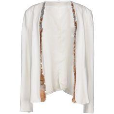 Twin-set Simona Barbieri Blazer ($245) ❤ liked on Polyvore featuring outerwear, jackets, blazers, white, blazer jacket, sequin jacket, white sequin blazer, white sequin jacket and sequin blazer