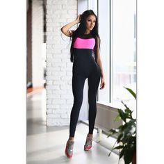 a9a72300f571 Perfect Pink Fitness Jumpsuit Clothes Women catsuit Dancer jumpsuit Active  wear brazilian jumpsuit D Workout Leggings