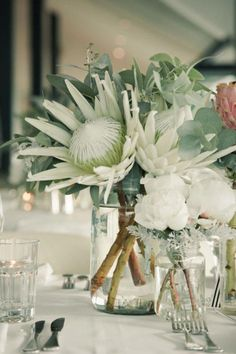 wedding table flower centerpieces bridal flowers - Page 8 of 100 - Wedding Flowers & Bouquet Ideas Protea Wedding, Winter Wedding Flowers, Wedding Table Flowers, Bridal Flowers, Floral Wedding, Wedding Bouquets, Wedding Colors, Protea Centerpiece, Flower Centerpieces