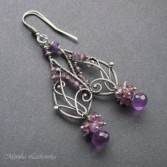 bead and wire earrings. Wire Jewelry Designs, Metal Jewelry, Jewelry Crafts, Jewelry Art, Beaded Jewelry, Jewellery, Jewelry Ideas, Jewelry Accessories, Wire Wrapped Earrings