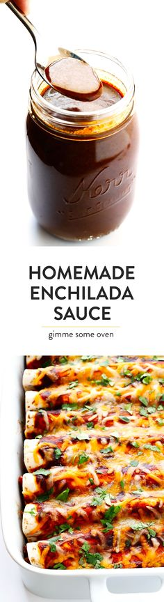 This is seriously the BEST homemade enchilada sauce recipe! It only takes about 20 minutes to make, it's full of authentic flavors, and tastes so delicious on any Mexican enchilada recipes!   gimmesomeoven.com
