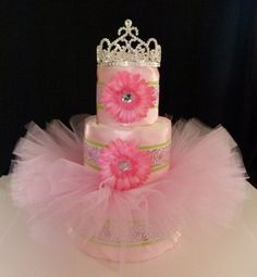 tutu diaper cake | Tutu Diaper Cake Pink Green Rose Princess Baby Girl by mamabijou