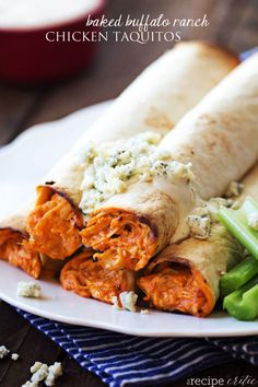 Baked Buffalo Ranch Chicken Taquitos