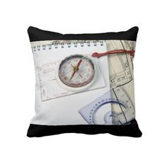 Compass and old maps throw pillow