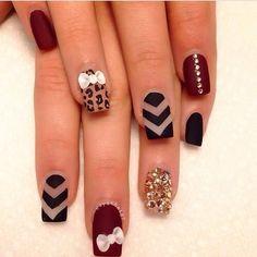 Nail art nails pinterest nail nail manicure and long nail red black and gold nail art prinsesfo Gallery