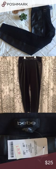 Faux leather bebe pants Super cute and trendy faux leather and nylon/spandex pants from Bebe. Absolutely love these but they dont fit me 😭 NOT pull on leggings but the inside thigh material is thick good quality legging material. So there is stretch to these. bebe Pants