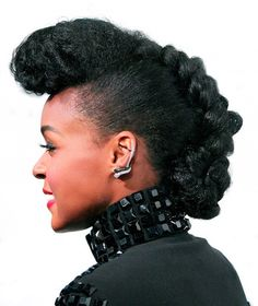 Janelle Monae looks chic with a pinned up braid