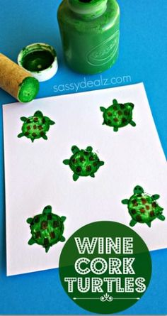 Can use a turtle or surfboard stamp for the passports on wtd. Turtle Craft for Kids Using a Wine Cork - Sassy Dealz Frog Crafts, Crafts To Do, Crafts For Kids, Craft Kids, Craft Activities For Kids, Preschool Crafts, Turtle Crafts, Wine Cork Crafts, Spring Crafts