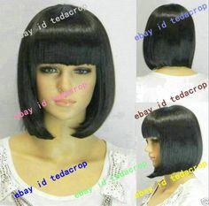 full Wig cosplay straight perruque парик short black cartoon carnival fringe BOB #FullWig