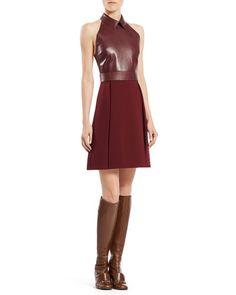 B2Q5S Gucci Leather Top A-Line Dress