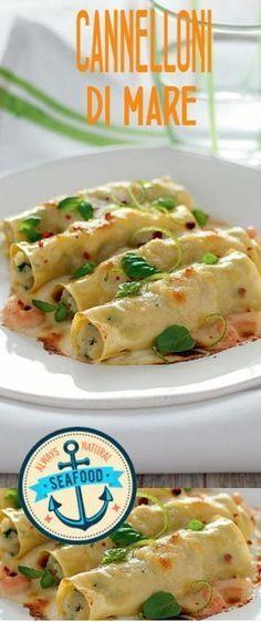 Cannelloni al mare Fish Recipes, Pasta Recipes, Cooking Recipes, Crespelle Recipe, Cannelloni Ricotta, Homemade Pasta, Fish Dishes, Ravioli, Crepes