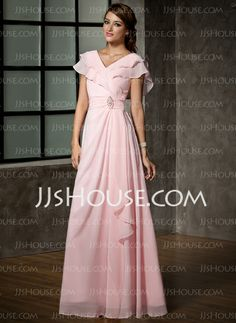 Mother of the Bride Dresses - $144.49 - A-Line/Princess V-neck Floor-Length Chiffon Mother of the Bride Dress With Ruffle Crystal Brooch (008006120) http://jjshouse.com/A-Line-Princess-V-Neck-Floor-Length-Chiffon-Mother-Of-The-Bride-Dress-With-Ruffle-Crystal-Brooch-008006120-g6120