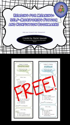 Reading for Meaning: Self-Monitoring Fiction and Non-fiction Bookmarks - FREE item from my TPT store! A great way to keep your students focused as they read... so please share and enjoy!!!