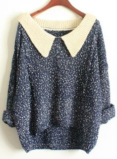 Navy Long Sleeve Lapel Loose Sweater 0.00