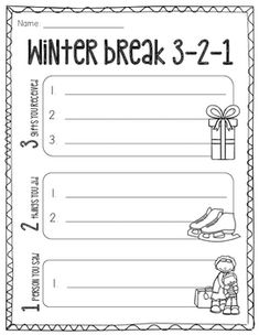 Winter Break Freebie Use this product as a fun conversation starter after returning from the holiday winter break. Use for morning work or with a cooperative learning structure! New Years Activities, Writing Activities, Classroom Activities, Winter Activities, School Holiday Crafts, School Holidays, 1st Grade Writing, Fun Conversation Starters, Teaching Skills