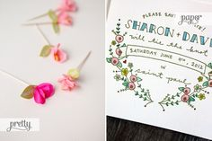 Mini crepe paper flowers via Oh Happy Day (left); Floral save the date by Printerette Press (right) | Images via their respective sources