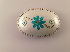 Teal Flower Hand Painted on Rock-Home Decor-Rock Art-Stone Art-Paper Weight-Unique Gift-Dot Design