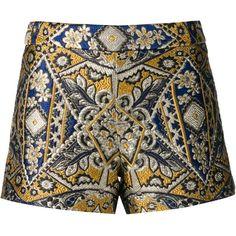 Alice+Olivia brocade shorts ($525) ❤ liked on Polyvore featuring shorts, bottoms, short, blue, blue short shorts, short shorts, alice + olivia, blue shorts and alice olivia shorts