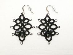 Tatted Lace Earrings with hematite in black -Decadence