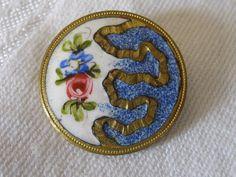 Paris Back Antique Blue & White Petite Rose Flower Button.