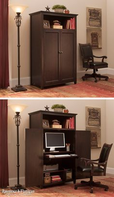 Organize your multipurpose space with a computer armoire like this one. The new Branson Armoire gives you the space you need for a functional home office, while looking clean and organized when it's closed.