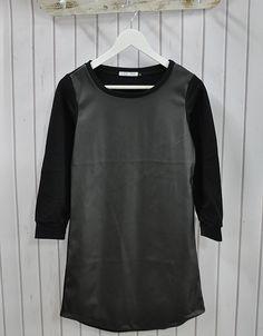 Sukienka, tunika ze skóropodobną wstawką