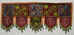 COOL FLORAL EMBROIDERY DOOR WALL HANGING INDIAN COTTON WINDOW VALANCE TORAN VR44 #Handmade