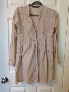 Zara Basic 100% Cotton Long Sleeve Embroidered Button Down Boho Tunic Top Small #ZaraBasic #ButtonDownShirtTunic #Any