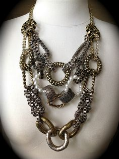 Lucia Bold Cable Links Statement Necklace Vintage Layered Bronze Pewter Pearl | eBay