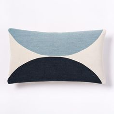 Embroidered Semi-Circle Pillow Cover - Shadow Blue