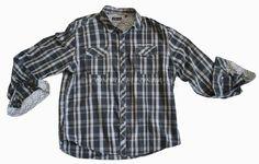 7 DIAMONDS 3XL Mens Button Front LS Shirt, Cotton, Plaids & Checks FLIP CUFF #7Diamonds #ButtonFront