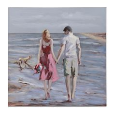 Let love inspire your coastal style with our Stroll Along The Sea Canvas Art Print. This beach print, has a delicate design that brings its romance to life! Sad Drawings, Anime Couples Drawings, Beach Drawing, Beach Print, Couples In Love, Coastal Style, Metal Art, All Art, Strand